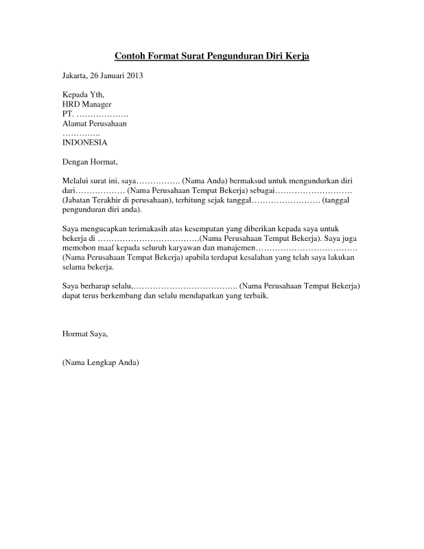 contoh surat pengunduran diri yang sopan dan benar