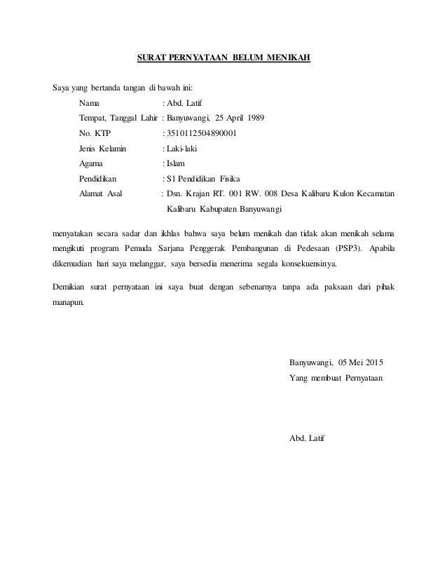 contoh surat pernyataan belum nikah