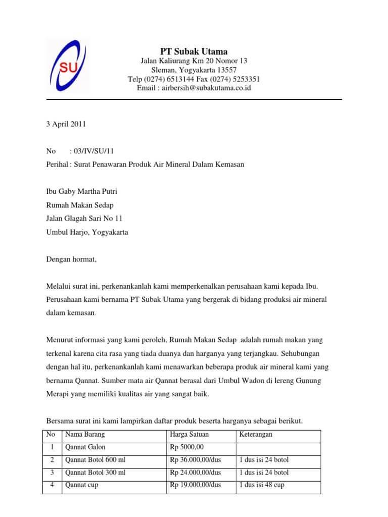 √ 12 + Contoh Surat Penawaran Kerjasama   Barang   Jasa ...