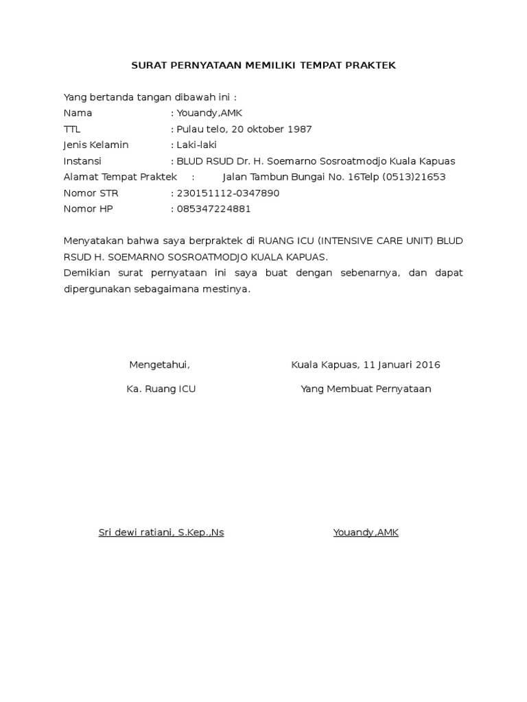 Contoh Surat Surat Pernyataan 075 Contoh Surat Pernyataan