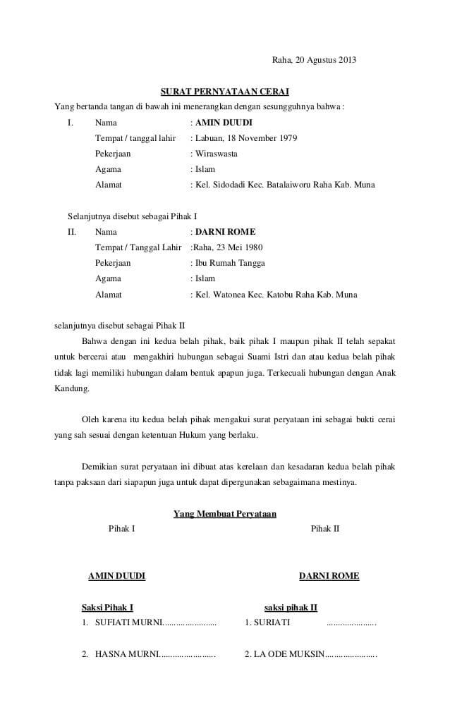 contoh surat pernyataan surat cerai