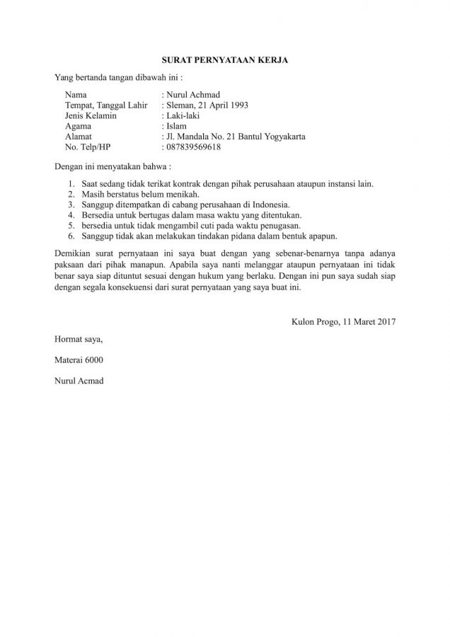 15 contoh surat pernyataan dengan penulisan yang sopan baik dan contoh surat pernyataan kerja thecheapjerseys Image collections