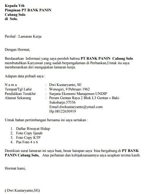 Contoh Surat Lamaran Kerja Untuk Bank Indonesia